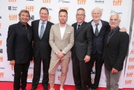 """Rob Friedman, Co-Chairman of Lionsgate Motion Picture Group, Producer Gary Lucchesi, Director Ewan McGregor, Producer Tom Rosenberg and Executive Producer Andre Lamal and Patrick Wachsberger, Co-Chairman of Lionsgate Motion Picture Group, seen at Lionsgate's """"American Pastoral"""" Premiere at the 2016 International Film Festival on Friday, Sept. 9, 2016, in Toronto. (Photo by Eric Charbonneau/Invision for Lionsgate/AP Images)"""