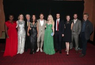 """Uzo Aduba, Valorie Curry, Peter Riegert, Jennifer Connelly, Jennifer Connelly, Director Ewan McGregor, Dakota Fanning, Rupert Evans, Molly Parker, Mark Hildreth and David Strathairn are seen at Lionsgate's """"American Pastoral"""" Premiere at the 2016 International Film Festival on Friday, Sept. 9, 2016, in Toronto. (Photo by Eric Charbonneau/Invision for Lionsgate/AP Images)"""