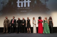 """Rupert Evans, Mark Hildreth, David Strathairn, Peter Riegert, Molly Parker, Valorie Curry, Uzo Aduba, Dakota Fanning and Jennifer Connelly are seen at Lionsgate's """"American Pastoral"""" Premiere at the 2016 International Film Festival on Friday, Sept. 9, 2016, in Toronto. (Photo by Eric Charbonneau/Invision for Lionsgate/AP Images)"""